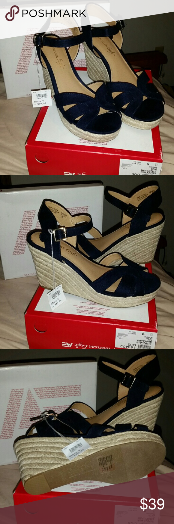 7b478530c424 American Eagle Wedge Sandals from Payless American Eagle Wedge Sandals  Heels from Payless Navy Blue Solf Material Super Cute! Size 9 Wide WM (EUR  44 1 2) ...