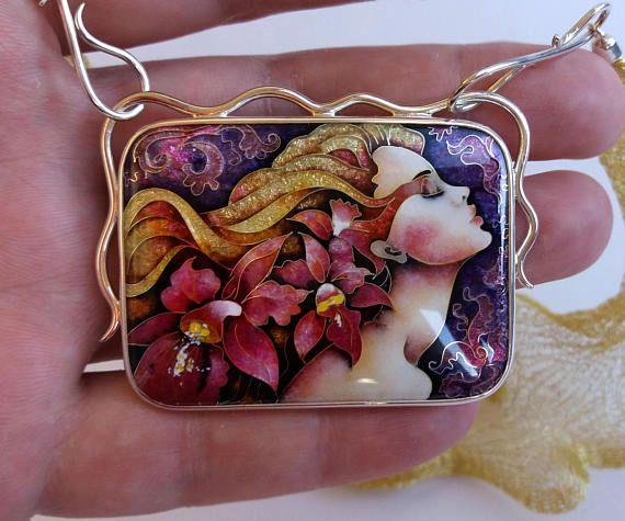 Dreamer Red Orchids Necklaces Pendant Cloisonne Enamel Jewelry