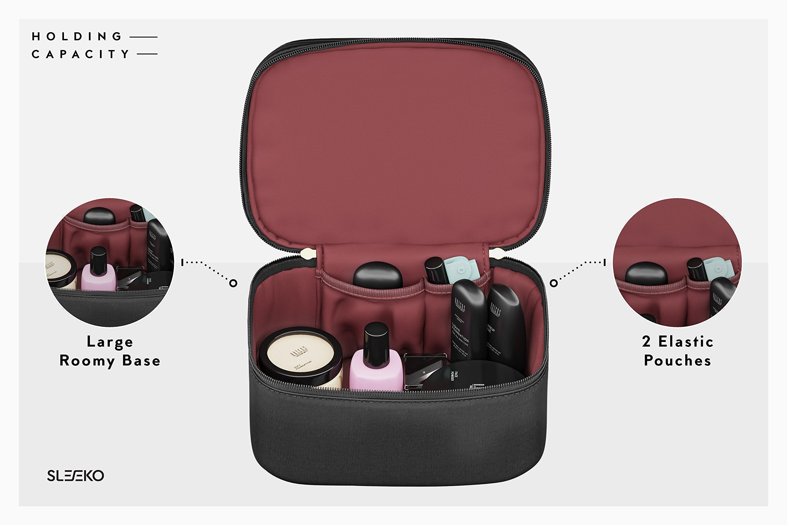 Makeup Organizer Soft Train Case Cosmetic Bag With Compartments For