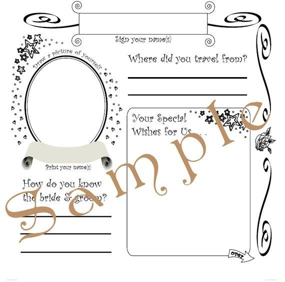 Wedding Guest Book Pages Template PDF File 8.25\'\' by tedzeppelynn ...