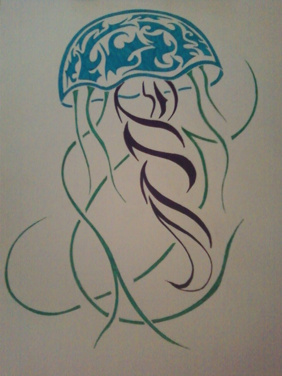 51abe1ebe tribal jellyfish in color (c) Sarah Dellinger | Tunes and Pencil ...