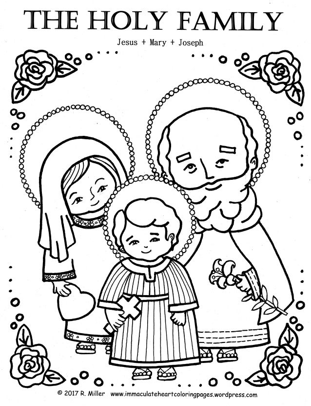 HOLY FAMILY Coloring Page Holy family, Altars and Mary - copy coloring pages of joseph and the angel