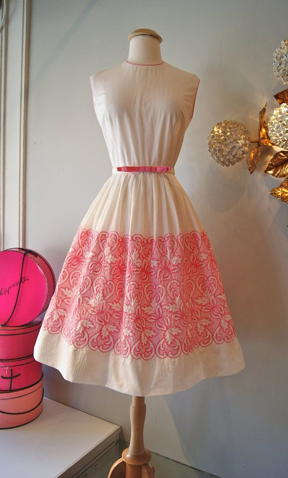 3f50bd4793e Vintage 1960 s Dress    Early 60 s White Cotton Dress with Pink ...