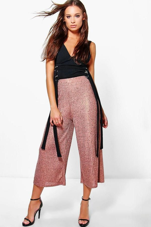 Boohoo Aurora Rose Gold Knitted Wide Leg Culottes | Trousers ...