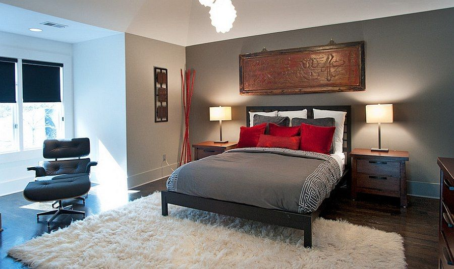 Schlafzimmer · Asian Inspired Bedroom In Gray And Red [Design: Atmosphere  360 Studio]