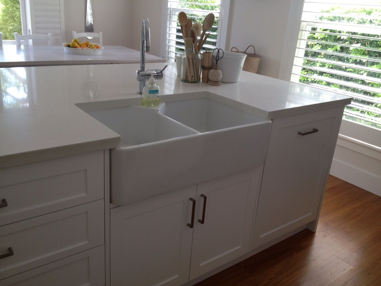 Pictures of kitchen islands with sinks - This Kitchen Island Has A Butler Sink Shaker Polyurethane Doors And On Kitchen Island Sinks With