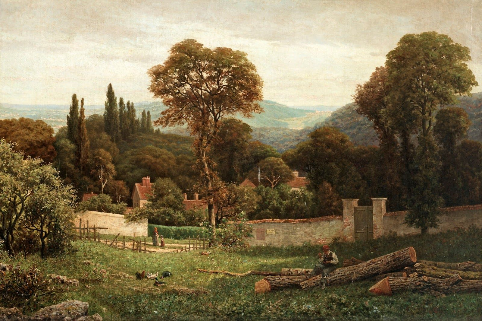Victorian British Painting Vicat Cole Gardens