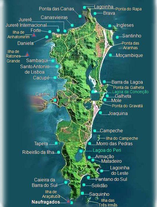 Mapa Das Praias Floripa Sc Mapa De Florianopolis Praias De