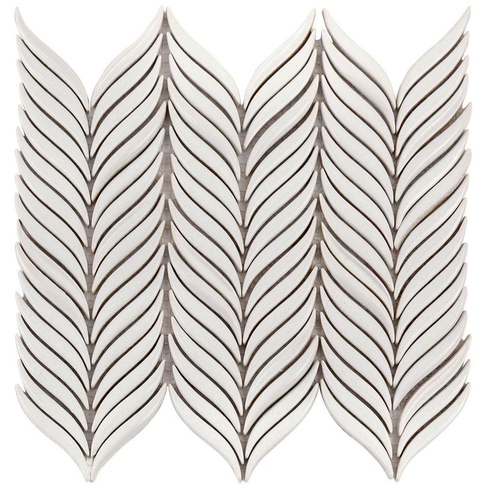 Splashback Tile Oracle Alula Glacier White 10 1 4 In X 11 7 8 In X 10mm Glazed Ceramic Mosaic Tile Ceramic Mosaic Tile Mosaic Tiles White Ceramic Tiles