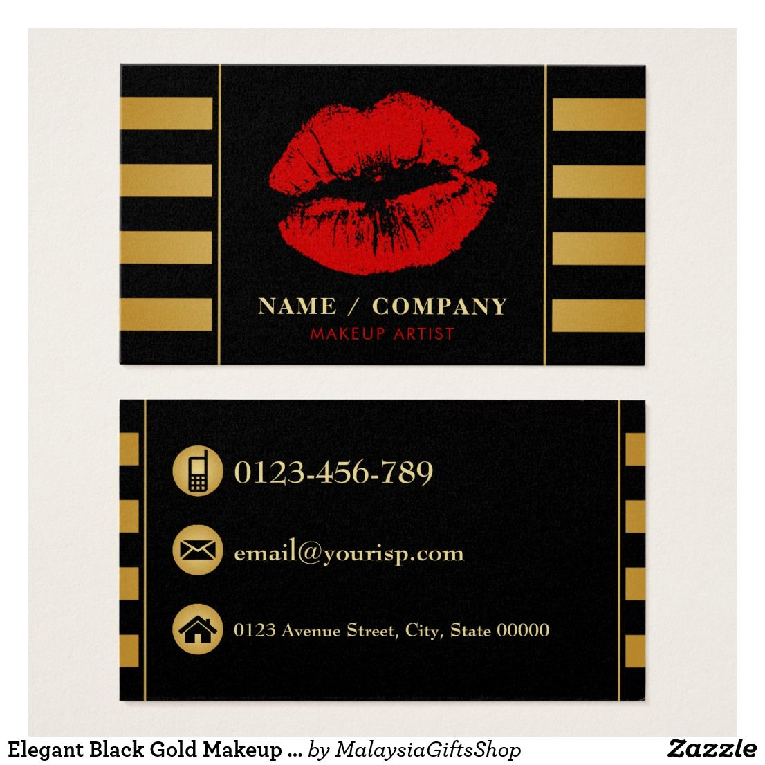 Elegant Black Gold Makeup Artist (Personalize) Business Card ...