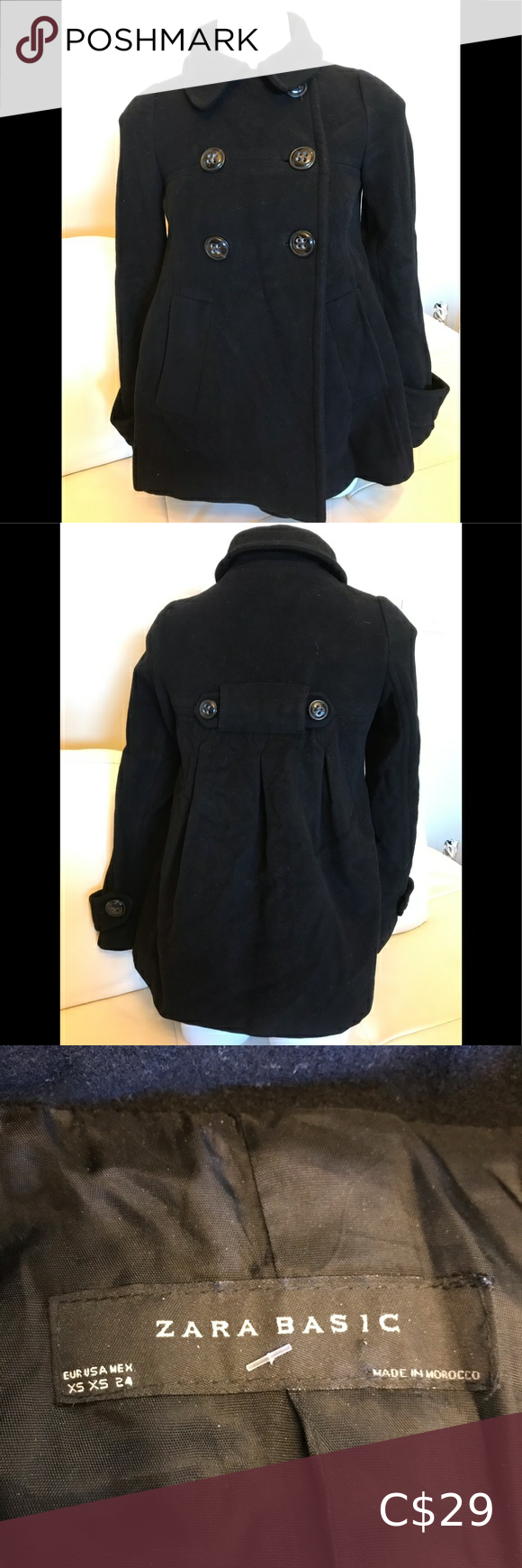 Zara Basic Black Pea Coat Zara Basic Black Pea Coats Girls Fall Coat [ 1740 x 580 Pixel ]