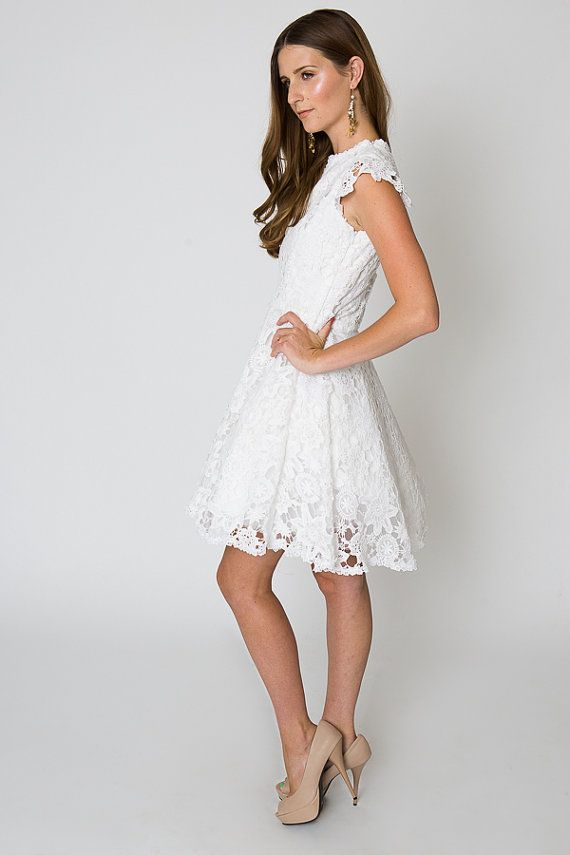 Rehearsal Dinner Dress White Lace Tail