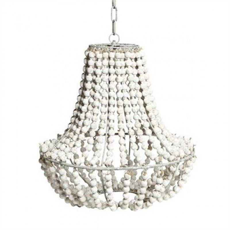 Beaded Pendant Light White Wash