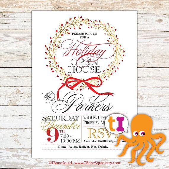 Holiday, Christmas, Open House, Invitation, Gold Foil, Wreath
