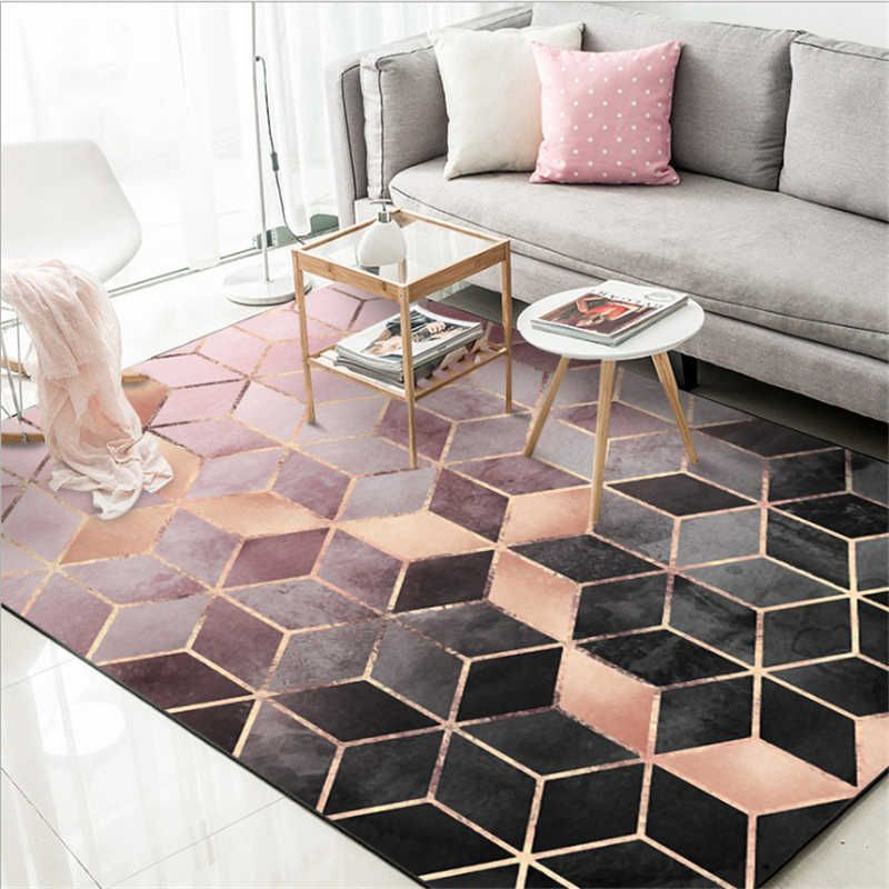 Carpet And Rugs For Home Living Room Area Rugs Rose Gold Pink Gradient Diamond Lattice Carpet Area Rug For Living Room Floor Mat Carpet Aliexpress Area Room Rugs Living Room Area