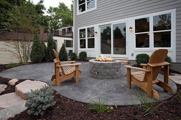 Small Patio Design Ideas Stamped Concrete Patio Ideas Firepit Wooden  Outdoor Armchairs