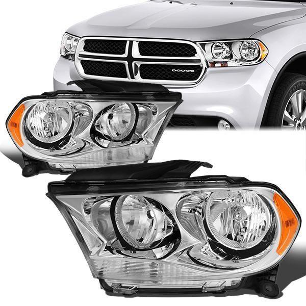 11 13 Dodge Durango Headlights Chrome Housing Amber Corner Dodge Durango Headlights Dodge
