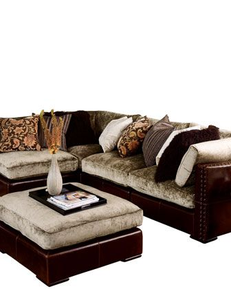 Superieur Chenille U0026 Leather Sectional Sofa   Horchow BEAUTIFUL COUCH