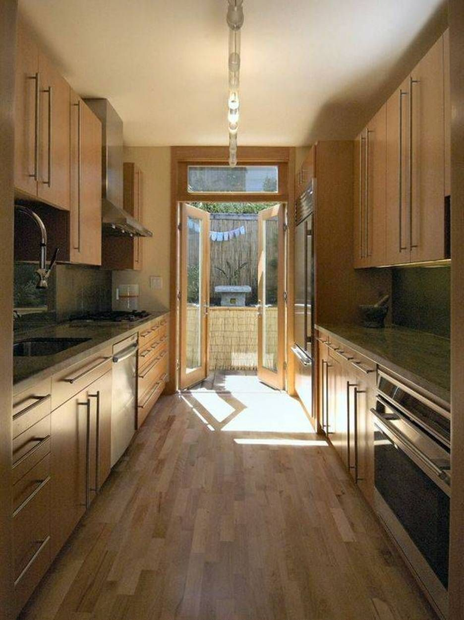 Galley Kitchen Ideas With Modern Lighting And Wooden Cabinets