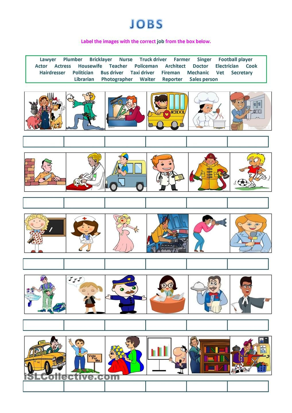 Jobs - labelling activity : ESL worksheets of the day ...