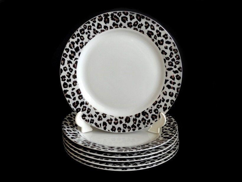 Sakura Nicole Miller Snow Leopard Dinner Plates Vintage Nicole Miller Plates 6 Available & Sakura Nicole Miller Snow Leopard Dinner Plates Vintage Nicole ...