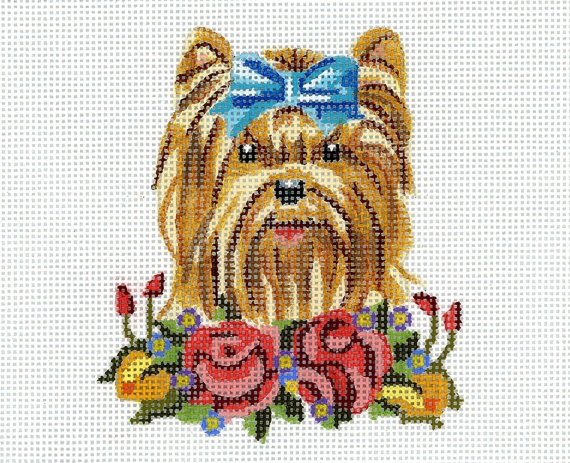 "Needlepoint Dog Canvas -An adorable Yorkshire Terrier in a small frame. -Based on 19th century Victorian animal vignettes. -Hand painted on the best Zweigart red line canvas - 18 mesh  -Dimensions of design: 3 1/4""w x 3 3/4""t -Approximately 2"" of canvas all around.  -Threads not included but if you need to purchase threads, I can connect you with a store here in NYC. They will be happy to pull threads for you.  -All canvases will be shipped ASAP. -Canvas will be shipped flat.  -No e..."