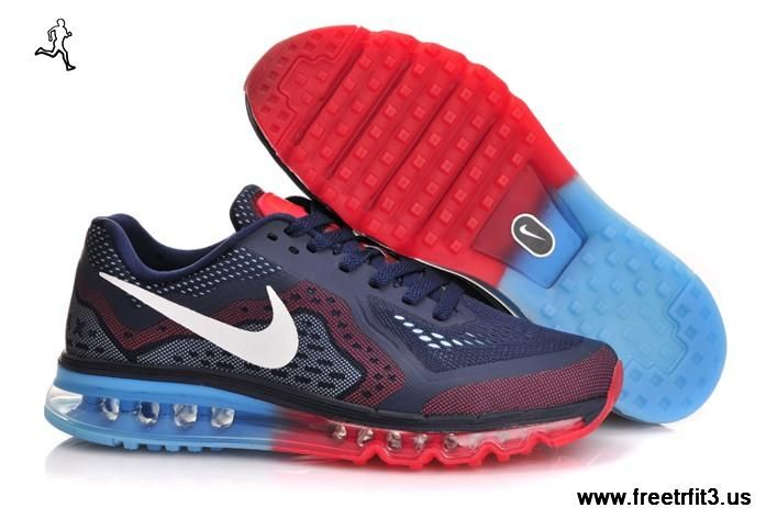 Nike Air Max 2014 Mens Midnight Navy Cym Red and Blue Lemonade 621077 416  /Half Price Nike Air Max 2014