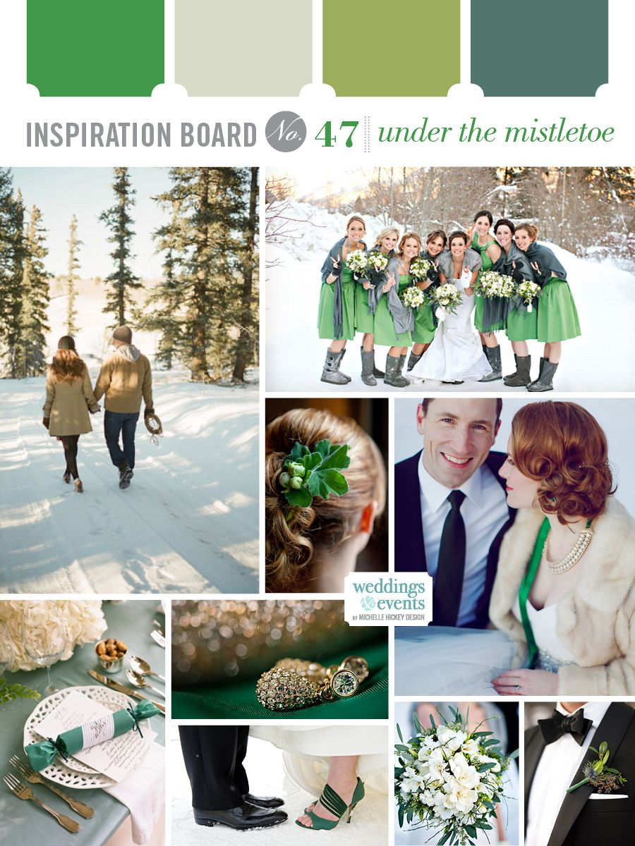 Inspiration Board: Under the Mistletoe | Elegance & Enchantment — inspired by Emerald, the Pantone color of the year!