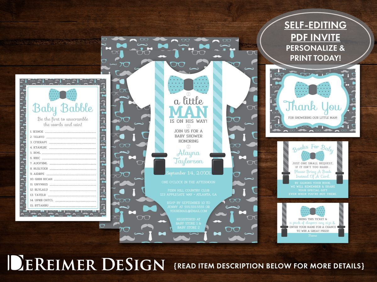 INSTANT DOWNLOAD Little man baby shower printable games package 1 teal blue and green mustache game bundle