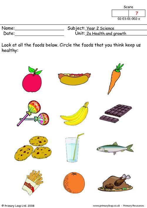 Healthy And Unhealthy Food Worksheet For Kindergarten
