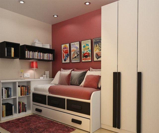 jugendzimmer kleiner raum nutzen bett bettkasten. Black Bedroom Furniture Sets. Home Design Ideas