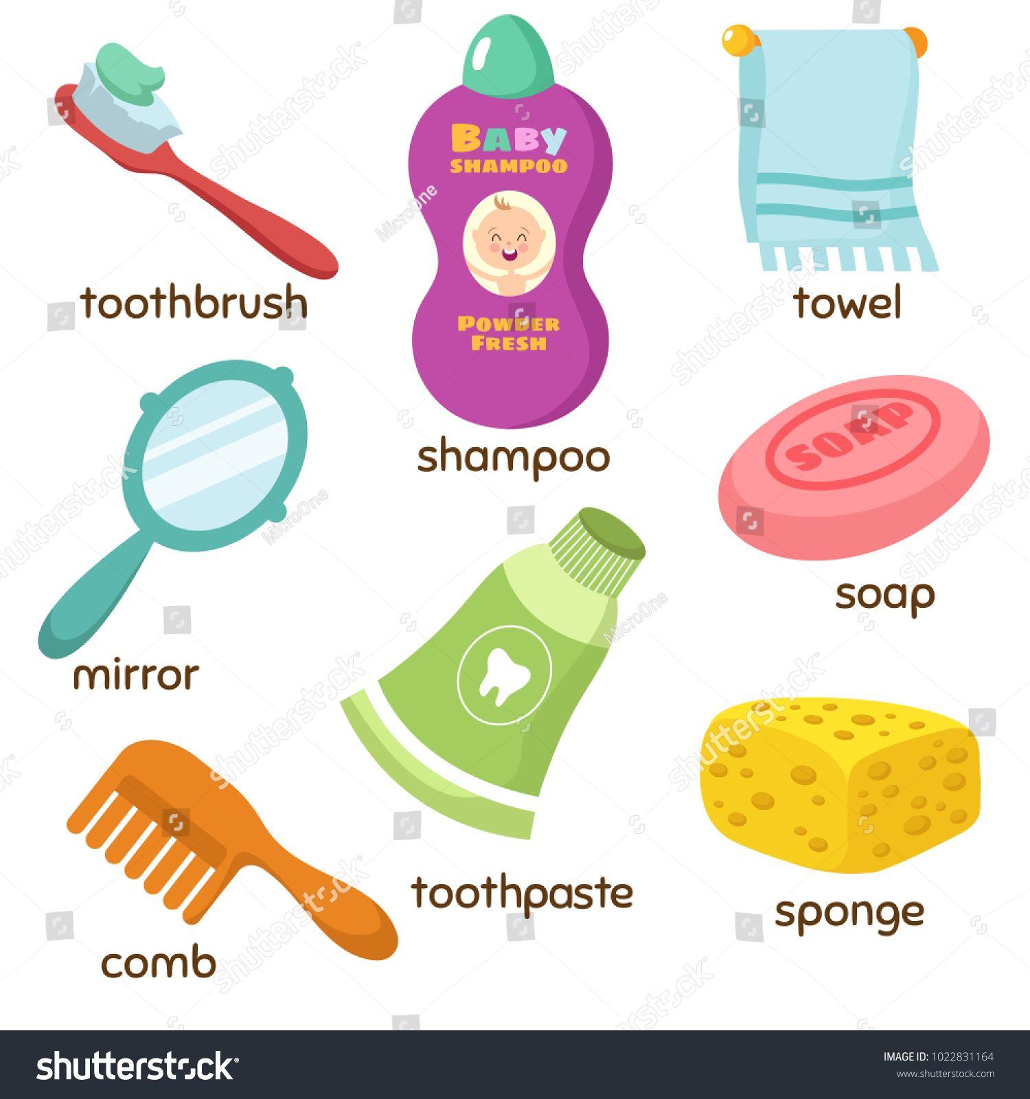 Cartoon Bathroom Accessories Vocabulary Vector Icons Mirror