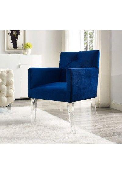 Navy Blue Velvet Accent Chair Acrylic Legs Furniture Blue