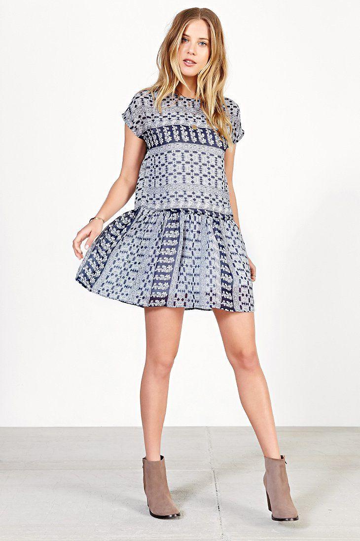 Ecote Printed Chiffon Drop-Waist Dress - Urban Outfitters