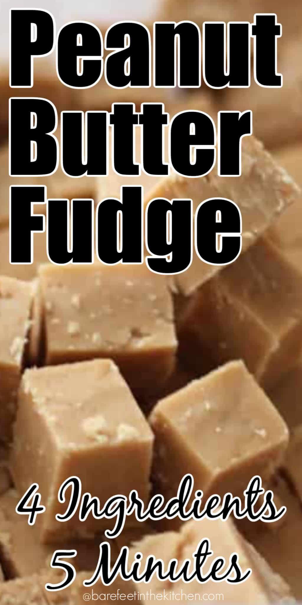 Creamy Peanut Butter Fudge | barefeetinthekitchen.com