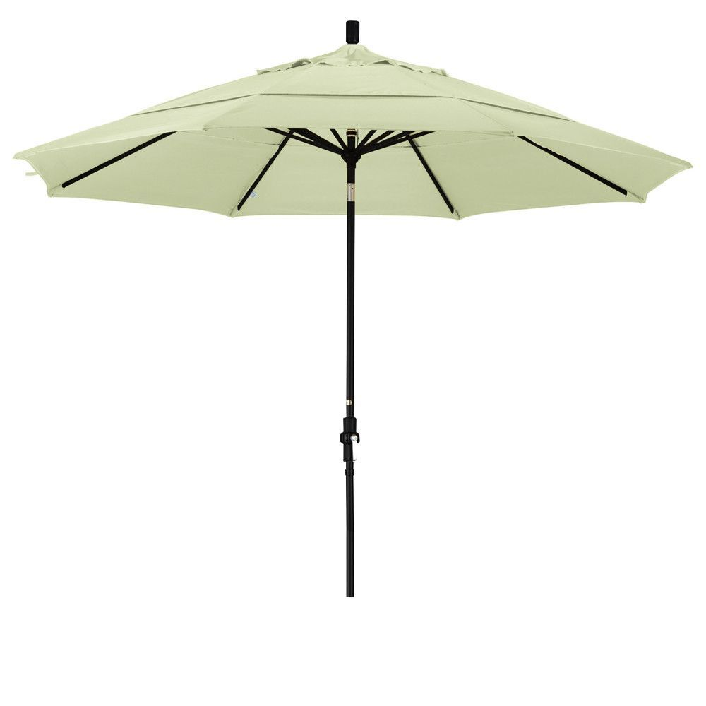 Eclipse Collection 11' Aluminum Market Umbrella Collar Tilt DV Matted Black/Pacifica/Natural
