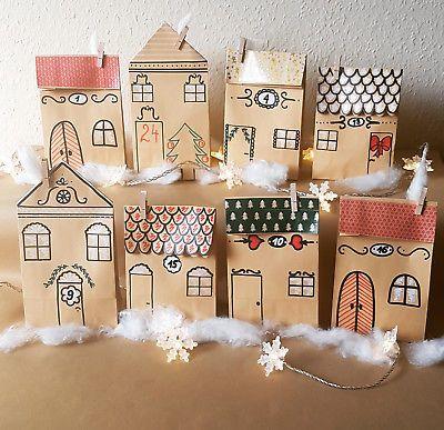 Adventskalender Dorf Häuser, Stadt Handarbeit aus 24 Papiertüten zum Befüllen Advent und