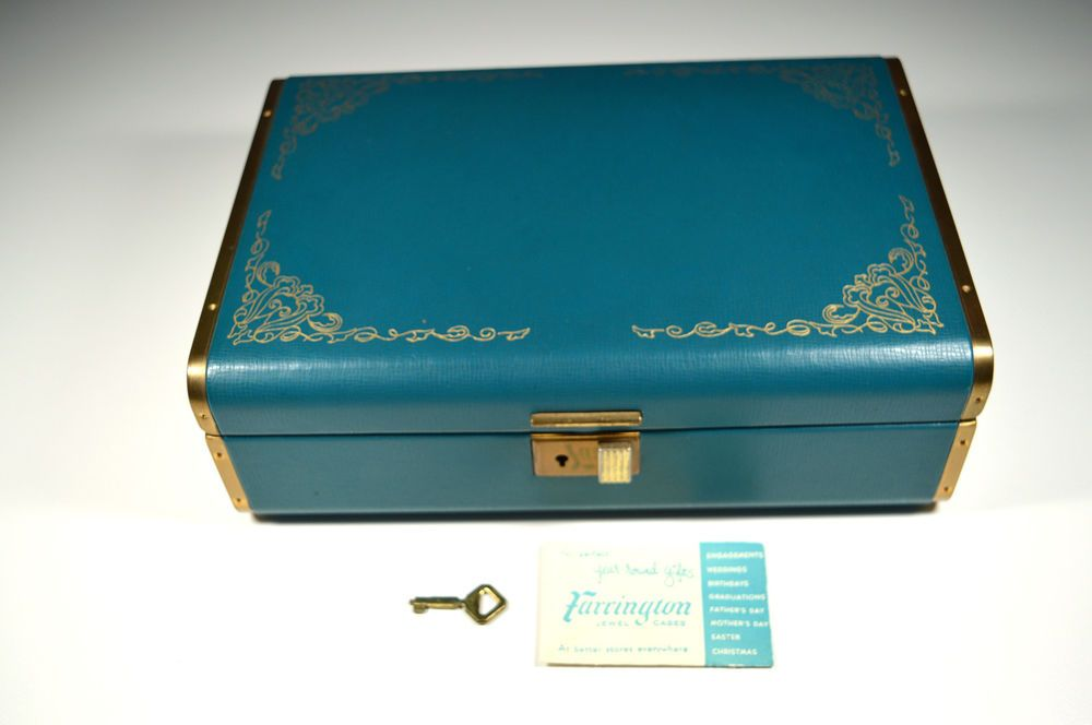 Vintage Farrington Jewelry Box WITH KEY Original Texol Blue Aqua Mid