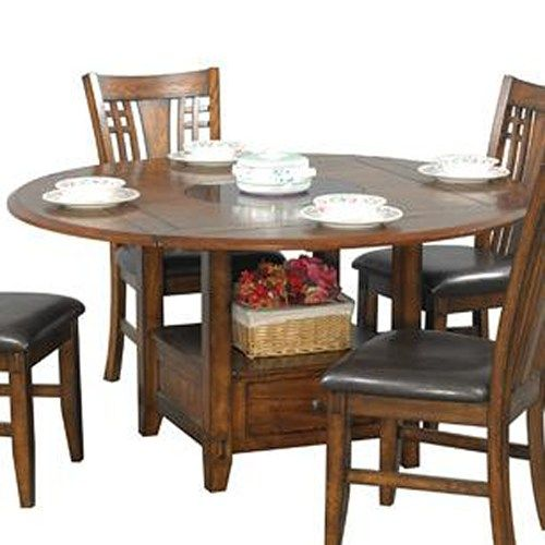 Zahara Round Dining Table With Granite Lazy Susan By Winners Only