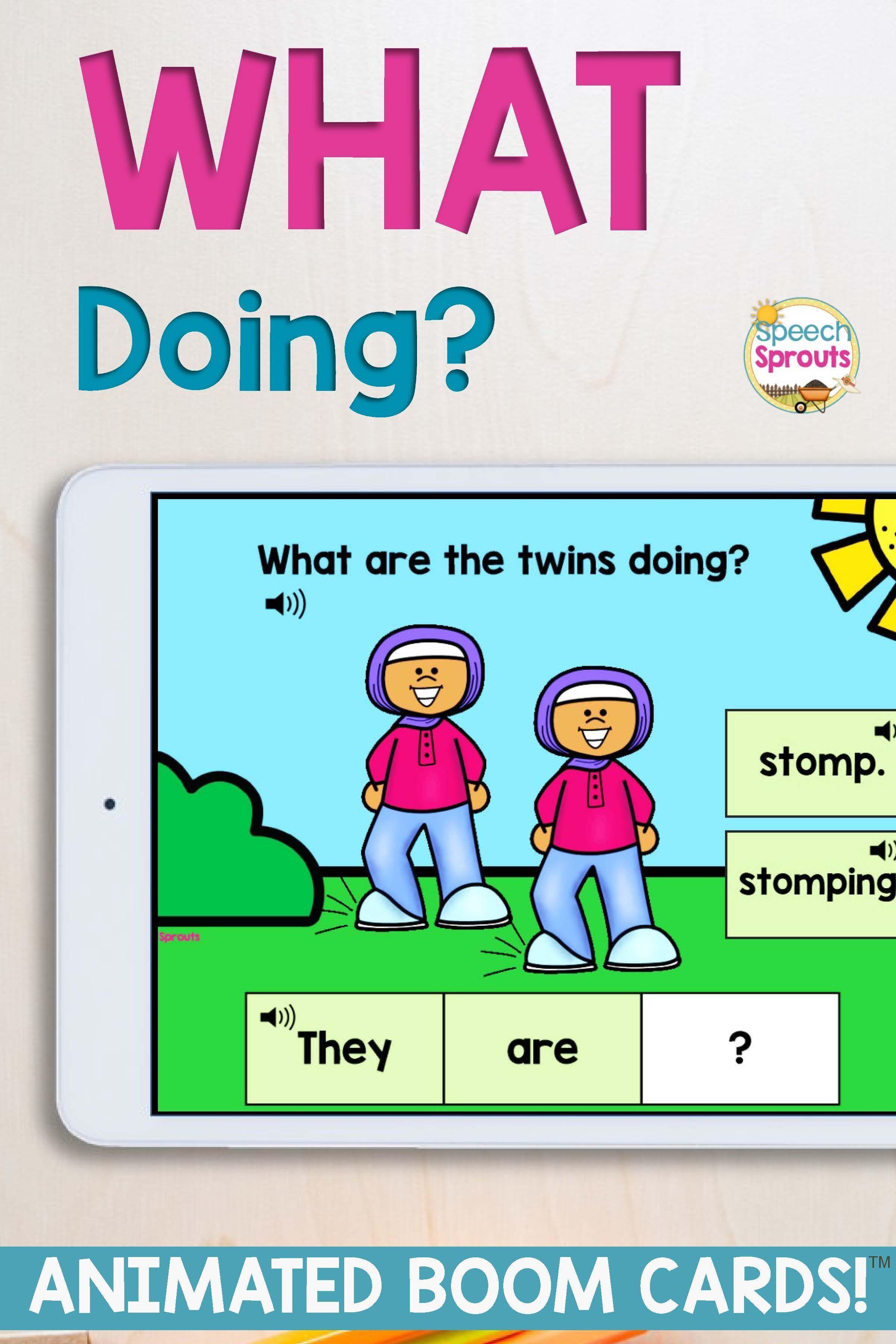 Wh Questions Boom Cards Present Tense Verbs For Speech Therapy With Gifs Present Tense Verbs Fun Grammar Activities Speech Therapy [ 3600 x 2400 Pixel ]