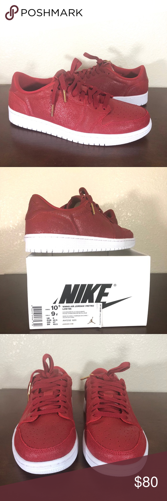 354df9b04d9e Women s Air Jordan 1 Retro Low NS Gym Red Sz 10.5 Women s Air Jordan 1  Retro Low NS  No Swoosh  Color  Gym Red Metallic Gold White Style Number   AH7232 623 ...