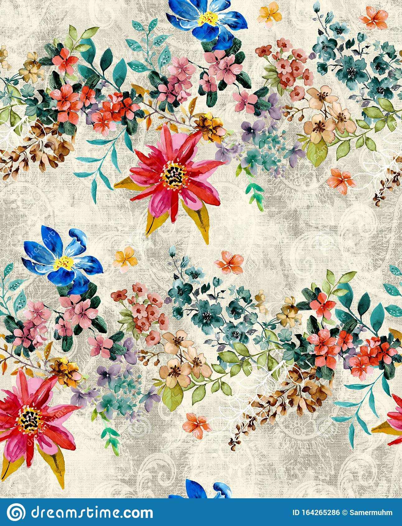 Seamless Floral Pattern With Colorful Flowers And Leaves The
