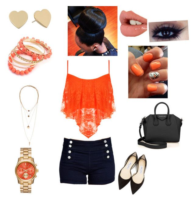 """""""Orange peach"""" by fancy215 on Polyvore featuring Wet Seal, WearAll, Kate Spade, Ruby Rocks, Jimmy Choo, H&M, Givenchy, Charlotte Tilbury, peach and orange"""