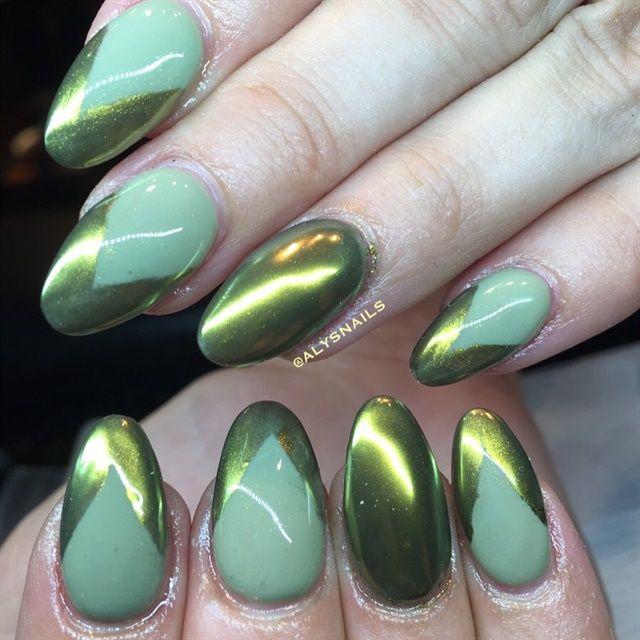 Day 73 Green Chrome Nail Art