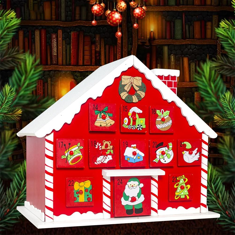 Wooden Christmas Advent Calendar With Drawers Children's