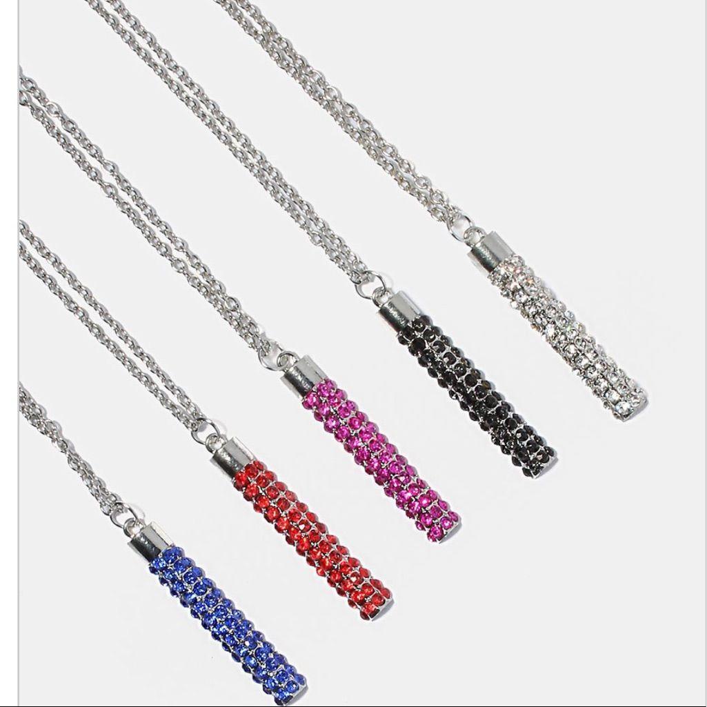 Linear Rhinestone Bar Necklace