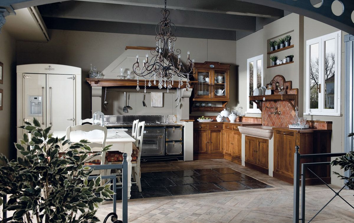 Country Style - Italienische Landhausküche. Just love the fridge and ...