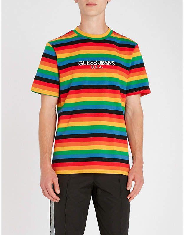 GUESS USA Farmers Market logo-print striped cotton-jersey T-shirt ... 5ef1a9a87918