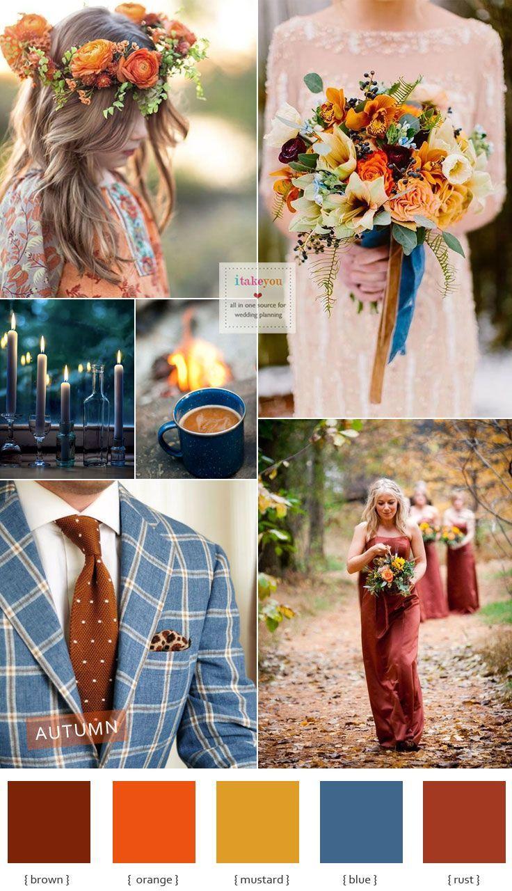 Autumn colours wedding theme { Blue + brown +mustard +orange & Rust } #autumncolours