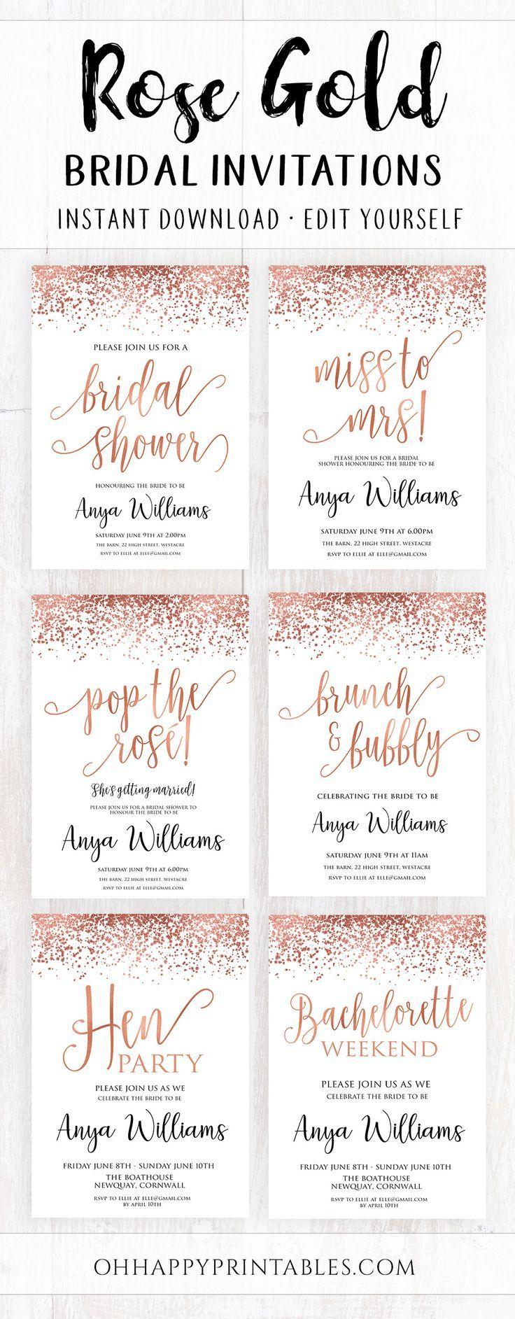SHOP Rose Gold Bridal Shower Invitation Templates in 2020